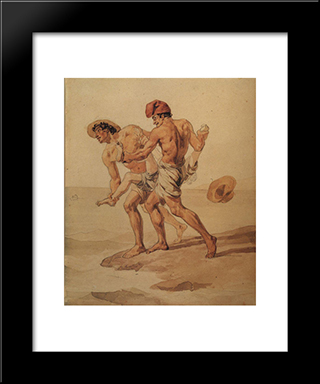 Forced To Swim: Modern Black Framed Art Print by Karl Bryullov