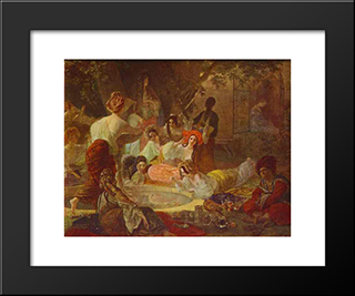 Fountain In Bakhchi-Sarai: Modern Black Framed Art Print by Karl Bryullov