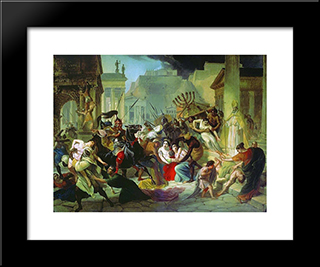 Genserich'S Invasion Of Rome: Modern Black Framed Art Print by Karl Bryullov