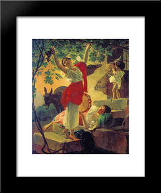 Girl Gathering Grapes In A Suburb Of Naples: Modern Black Framed Art Print by Karl Bryullov