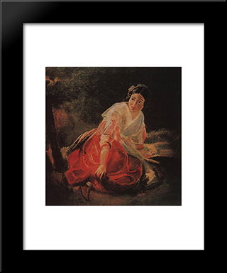 Girl In A Forest: Modern Black Framed Art Print by Karl Bryullov