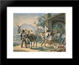 Grape Harvest Celebration: Modern Black Framed Art Print by Karl Bryullov