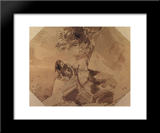 Greek Lying On A Rock: Modern Black Framed Art Print by Karl Bryullov