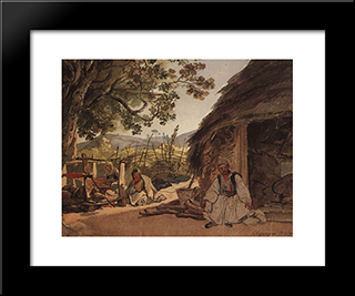 Greek Morning In Myraca: Modern Black Framed Art Print by Karl Bryullov