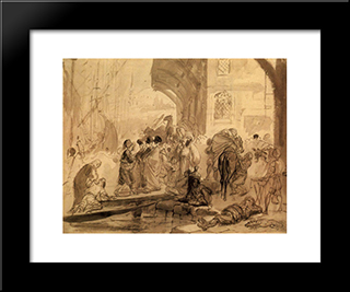 Harbour In Constantinople: Modern Black Framed Art Print by Karl Bryullov