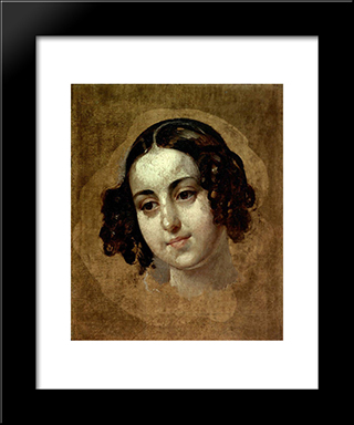 Head A Girl: Modern Black Framed Art Print by Karl Bryullov