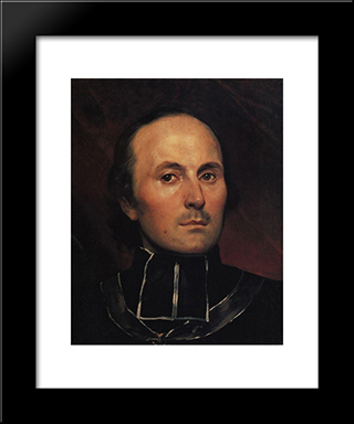 Head Of An Abbot: Modern Black Framed Art Print by Karl Bryullov