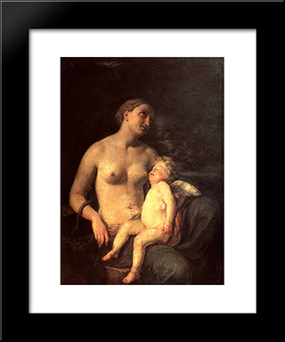 Hope Feeding Love: Modern Black Framed Art Print by Karl Bryullov