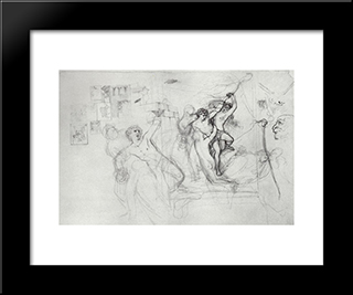 Hylas, Carried Along By The Nymphs In Water: Modern Black Framed Art Print by Karl Bryullov