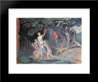 Hylas And The Nymphs: Modern Black Framed Art Print by Karl Bryullov