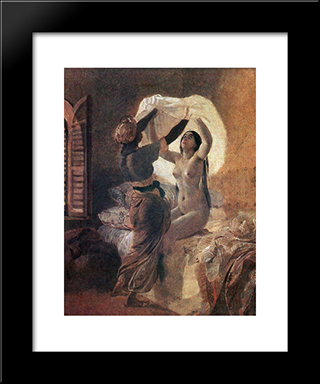 In A Harem. By Allah'S Order Underwear Should Be Changed Once A Year: Modern Black Framed Art Print by Karl Bryullov