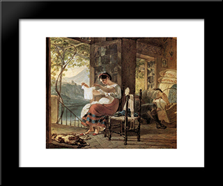 Italian, Expecting A Child, Looking At His Shirt, Her Husband Cobble Together A Cradle: Modern Black Framed Art Print by Karl Bryullov