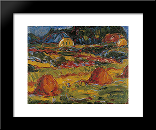 Autumn Landscape In Oldenburg: Modern Black Framed Art Print by Karl Schmidt Rottluff
