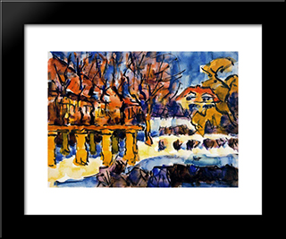 Garden In Winter: Modern Black Framed Art Print by Karl Schmidt Rottluff
