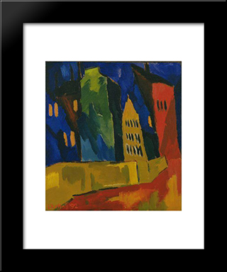 Houses At Night: Modern Black Framed Art Print by Karl Schmidt Rottluff
