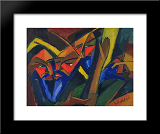 Pharisees: Modern Black Framed Art Print by Karl Schmidt Rottluff