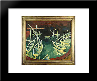 Pier At Night: Modern Black Framed Art Print by Karl Schmidt Rottluff