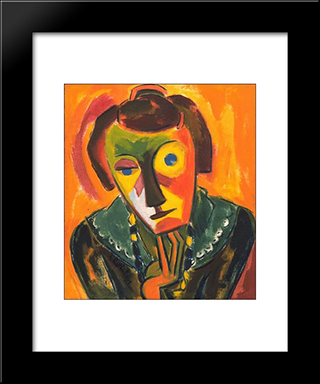 Portrait Of Emy: Modern Black Framed Art Print by Karl Schmidt Rottluff