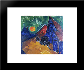 Rising Moon: Modern Black Framed Art Print by Karl Schmidt Rottluff