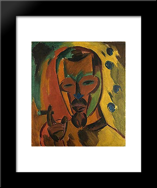Self - Portrait With Cigar: Modern Black Framed Art Print by Karl Schmidt Rottluff