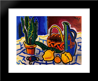 Still Life (Sanseveria And Jar): Modern Black Framed Art Print by Karl Schmidt Rottluff