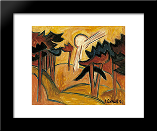 Sun Over The Pine Forest: Modern Black Framed Art Print by Karl Schmidt Rottluff