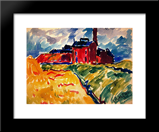 The Factory: Modern Black Framed Art Print by Karl Schmidt Rottluff