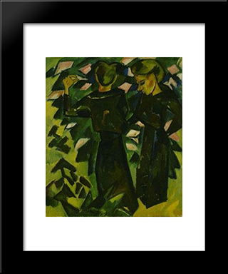 Two Girls In A Garden: Modern Black Framed Art Print by Karl Schmidt Rottluff