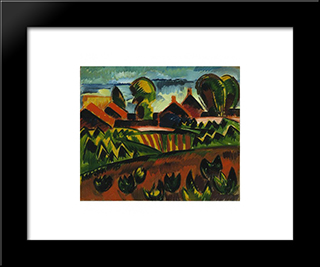 Village At The Sea: Modern Black Framed Art Print by Karl Schmidt Rottluff