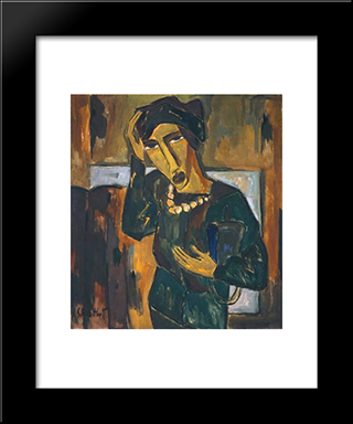 Woman With A Bag: Modern Black Framed Art Print by Karl Schmidt Rottluff