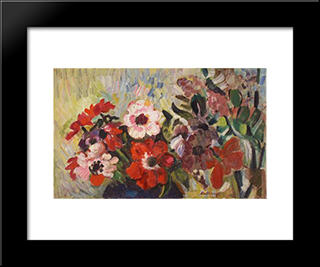Anemones: Modern Black Framed Art Print by Karl Schrag