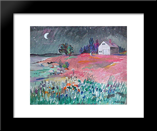 Barn Studio In Moonlight: Modern Black Framed Art Print by Karl Schrag