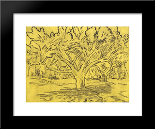 Big Tree And Distant Figures: Modern Black Framed Art Print by Karl Schrag
