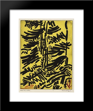 Dark Trees At Noon: Modern Black Framed Art Print by Karl Schrag