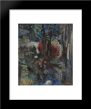 Evening Woods: Modern Black Framed Art Print by Karl Schrag