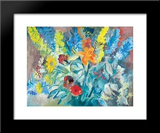 Flowers & Leaves: Modern Black Framed Art Print by Karl Schrag