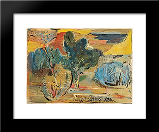 Forms Of Trees And Clouds: Modern Black Framed Art Print by Karl Schrag