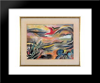 Fragrant Breeze At Nightfall: Modern Black Framed Art Print by Karl Schrag