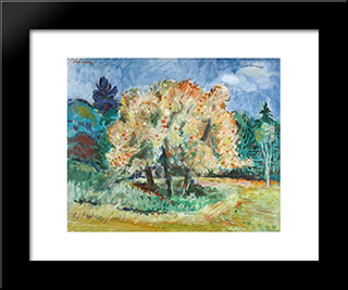 Late Afternoon Apple Trees And Clouds: Modern Black Framed Art Print by Karl Schrag