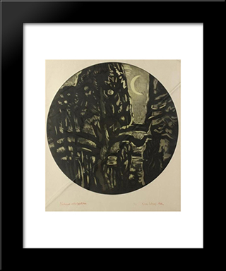 Nocturne With Apple Tree: Modern Black Framed Art Print by Karl Schrag