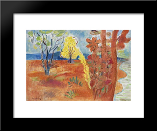 Orange Earth, Yellow Trees: Modern Black Framed Art Print by Karl Schrag