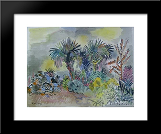 Palm Trees, Gray And Yellow Sky: Modern Black Framed Art Print by Karl Schrag
