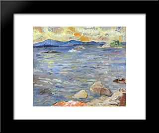Sea And Camden Hills: Modern Black Framed Art Print by Karl Schrag