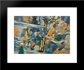 Sea Breeze In The Woods: Modern Black Framed Art Print by Karl Schrag