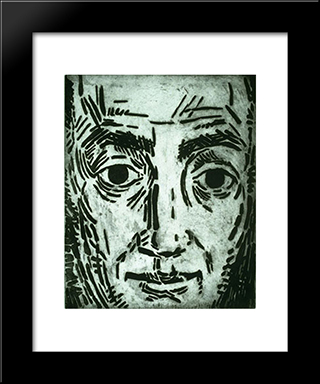 Self - Portrait: Modern Black Framed Art Print by Karl Schrag