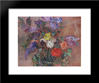 Spring Bouquet With Lilacs: Modern Black Framed Art Print by Karl Schrag