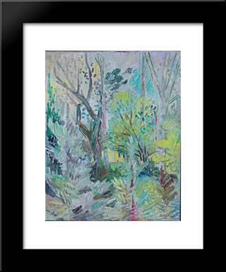 The Artist House Through The Trees: Modern Black Framed Art Print by Karl Schrag