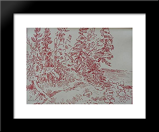 Tree Bending To Water: Modern Black Framed Art Print by Karl Schrag