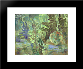 Tree In Flowing Moonlight: Modern Black Framed Art Print by Karl Schrag