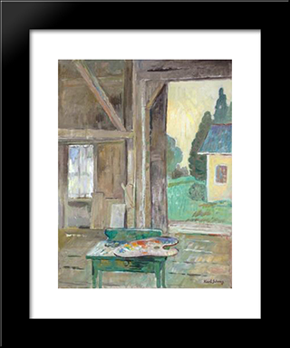 View From The Studio (Green Table With Palette): Modern Black Framed Art Print by Karl Schrag